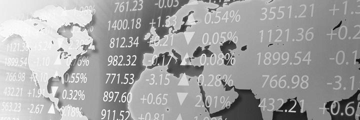 Aktienkurse vor Weltkarte