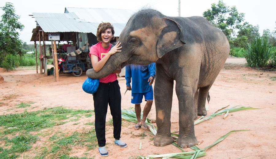 Asher Jay with elephant